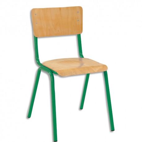 SODEMATUB Lot de 4 chaises scolaires Maxim, hêtre ,vert , assise 37 x 39 cm, taille 3