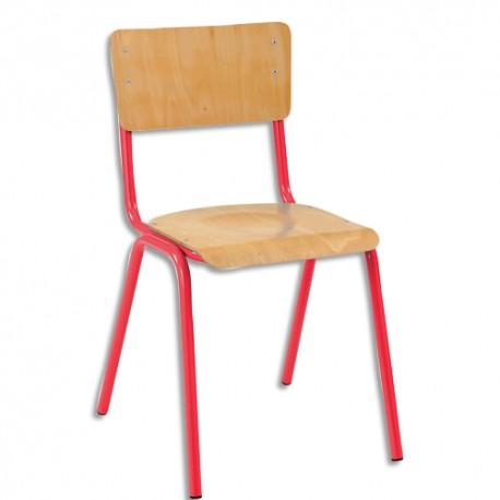 SODEMATUB Lot de 4 chaises scolaires Maxim, hêtre , rouge, assise 37 x 39 cm, taille 3
