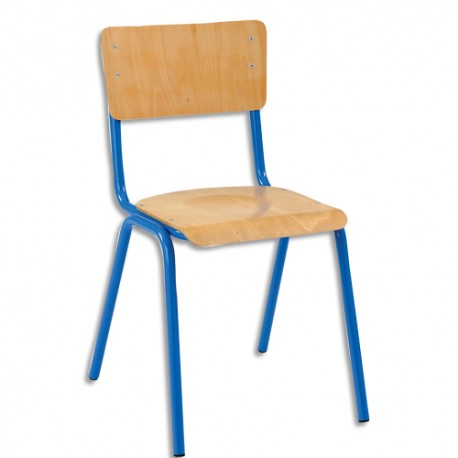 SODEMATUB Lot de 4 chaises scolaires Maxim, hêtre ,bleu, assise 37 x 39 cm, taille 3