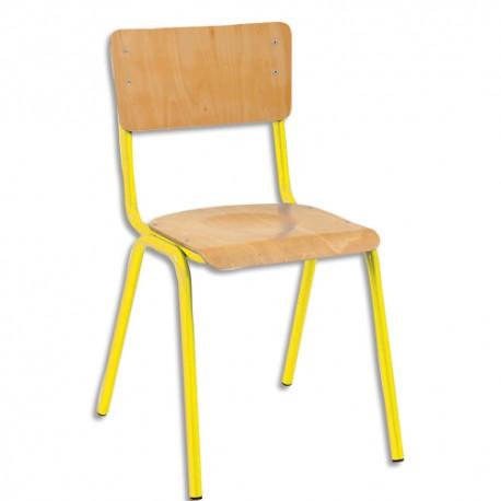 SODEMATUB Lot de 4 chaises scolaires Maxim, hêtre , jaune, assise 37 x 39 cm, taille 3