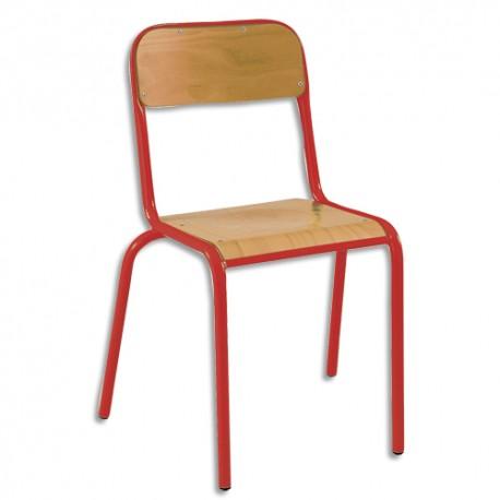 SODEMATUB Lot de 4 chaises scolaires Alexis, hêtre , rouge, assise 35 x 36 cm, taille 3