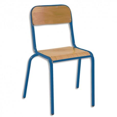 SODEMATUB Lot de 4 chaises scolaires Alexis, hêtre , bleu, assise 35 x 36 cm, taille 3