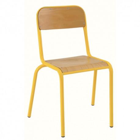 SODEMATUB Lot de 4 chaises scolaires Alexis, hêtre , jaune, assise 35 x 36 cm, taille 3