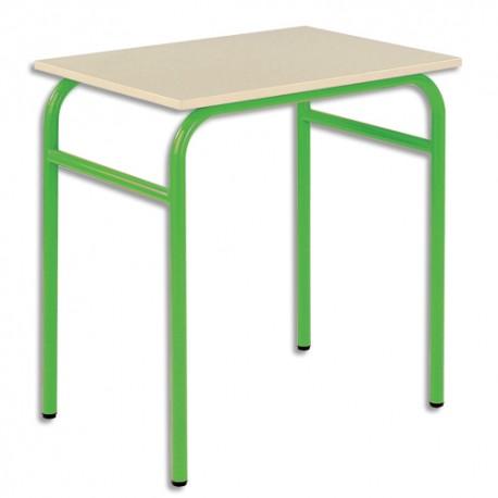 SODEMATUB Lot de 4 tables scolaires monoplace, hêtre , vert - Dimensions : L70 x H74 x P50 cm, taille 4