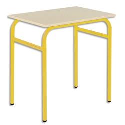 SODEMATUB Lot de 4 tables scolaires monoplace, hêtre , jaune - Dimensions : L70 x H74 x P50 cm, taille 4