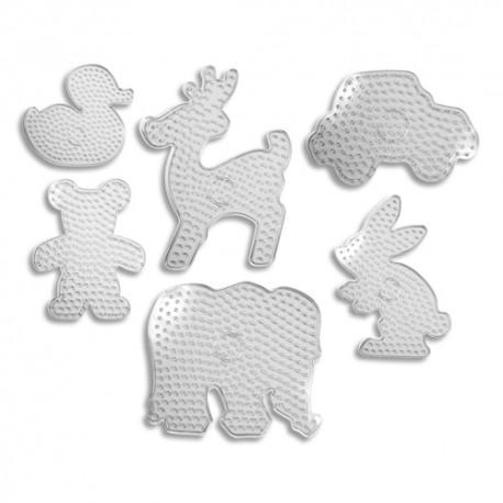 DTM lot de 6 plaques pour perles à repasser XXL assorties Perlou