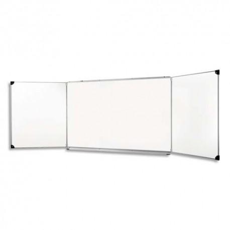 ULMANN Tableau triptyque émaillé Blanc - Format : L400 x H100 cm ouvert, fermé 200 x 100 cm