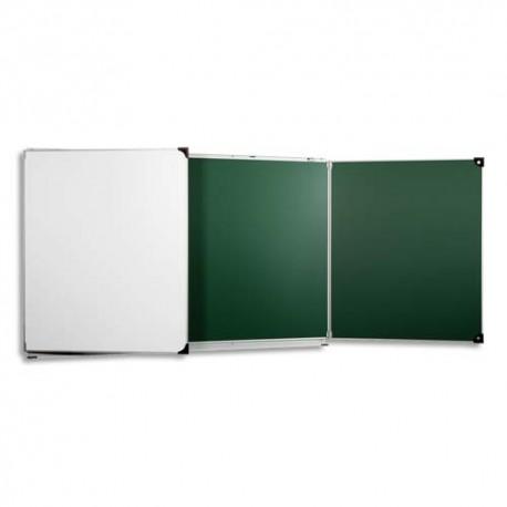 ULMANN Tableau tryptique émaillé Vert Blanc - Format : L400 x H120 cm ouvert, fermé 200 x 120 cm