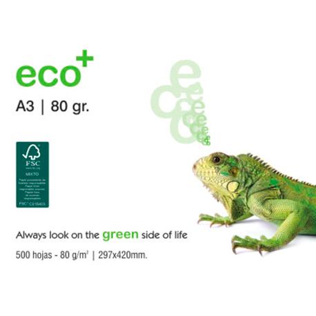 Ramette papier blanc A3 IBERPAPEL Eco+ 80 Grs 500 feuilles Cie 145 Eco+ Copieur, Jet d'encre, Laser. PEFC