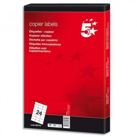 Etiquette Eco 5* - Boîte de 2400 étiquettes blanches copieur dimensions 70x37 mm