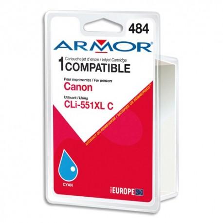 ARMOR Cartouche compatible jet d'encre Cyan CANON CLi-551XL B12625R1