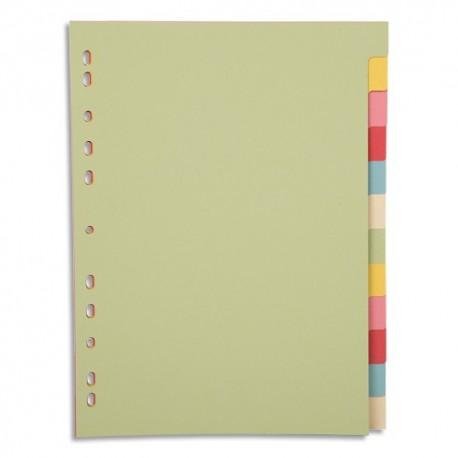 PERGAMY Jeu 12 intercalaires neutres 12 touches carte recyclée 170g. Format A4. Coloris assortis pastel