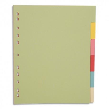 PERGAMY Jeu 6 intercalaires neutres 6 touches carte recyclée 170g. Format A4+. Coloris assortis pastel