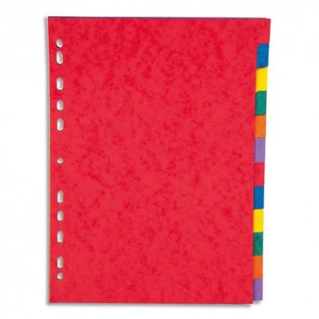 PERGAMY Jeu 12 intercalaires neutres 12 touches carte lustrée 225g. Format A4. Coloris assortis vif