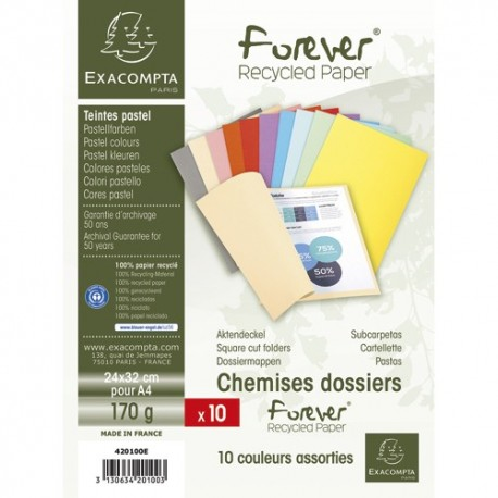 EXACOMPTA Paquet de 10 chemises FOREVER en carte 170g. Coloris assortis
