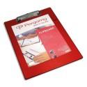 PERGAMY Plaque porte bloc PVC avec pince métal, dimensions : L 23,5 x H 34 cm, Coloris rouge
