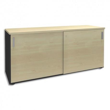 SIMMOB Crédence à portes coulissantes Steely Erable carbone en bois - Dimensions : L160 x H72 x P47 cm