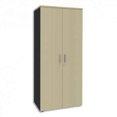 SIMMOB Armoire Haute 2 portes Steely Erable carbone en bois - Dimensions : L80 x H180 x P47 cm