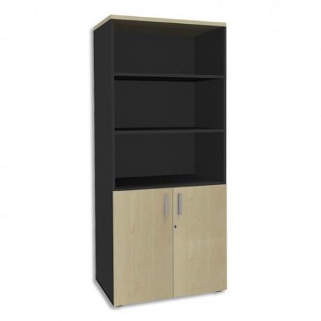 SIMMOB Bibliothèque 2 portes basses Steely Erable carbone en bois - Dimensions : L80 x H180 x P47 cm
