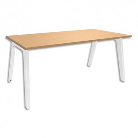 SIMMOB Bureau Steely plateau Hêtre pieds blancs en bois et métal - Dim : L180 x H72 x P80 cm