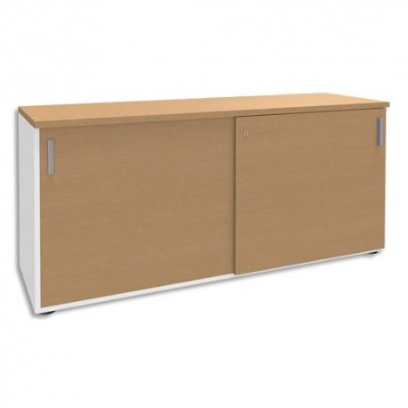 SIMMOB Crédence à portes coulissantes Steely Hêtre blanc en bois - Dimensions : L160 x H72 x P47 cm