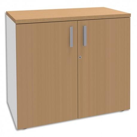 SIMMOB Armoire Basse 2 portes Steely Hêtre pieds blancs en bois  - Dimensions : L80 x H72 x P47 cm