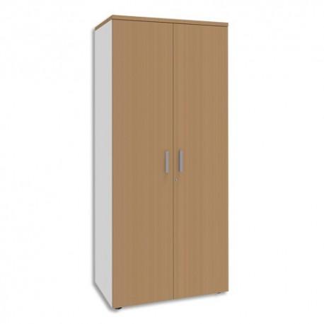 SIMMOB Armoire Haute 2 portes Steely Hêtre pieds blancs en bois - Dimensions : L80 x H180 x P47 cm