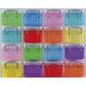 RLU Organiseur 16 Boîtes 0,14L assorties transparentes pour fournitures de bureau L28 x H22,4 x P8 cm