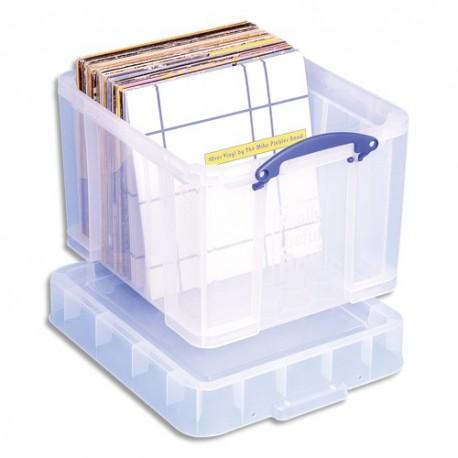 RLU Bac plastique 35L transparent Extra Large avec couvercle pour disques vinyles L48 x H31 x P31 cm