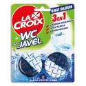 LACROIX Blister de 2 blocs WC avec Javel 3 en 1 : hygiène, anti-tartre et désodorisant, eau bleue
