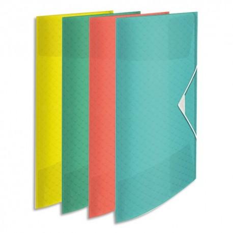ESSELTE Chemise 3 rabats élastique Colour Ice, en polypropylène 5/10ème. Coloris assortis