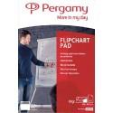 PERGAMY Recharge papier pour chevalets, Rouleau de 25 feuilles 56g recyclée blanc Uni, Format L100xH130cm
