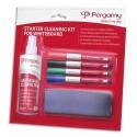 PERGAMY Kit nettoyant de démarrage pour tableaux blancs. Spray + brosse + 4 marqueurs