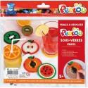 PERLOU Kit d activité 1500 perles à repasser assorties, 1 plaque, 5 modèles dessous de verre Fruit