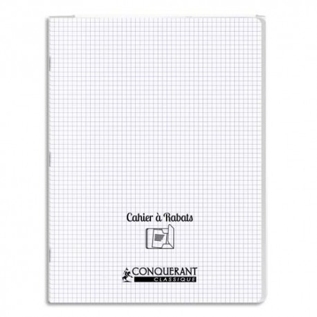OXFORD C9 Cahier 24x32, 96 pages, 90g, règlure 5X5, couverture polypro incolore avec rabat