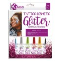 GRAINECREATIVE Kit Tatoo paillettes, 6 pots, 2 pinceaux, 10 pochoirs