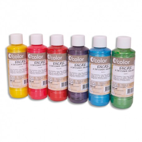 OCOLOR Lot de 6 flacons 250ml d'encre à dessiner nacrée, couleurs assorties