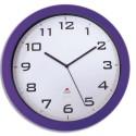 ALBA Horloge murale Horissimo silencieuse grand format à pile 1AA non fournie - D38 cm, P5,11 cm prune