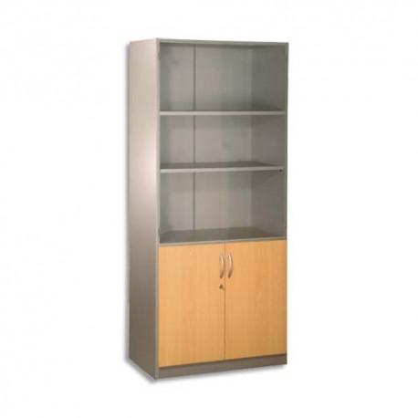 SIMMOB Bibliothèque haute H180 x L80 cm, 2 portes basses alu/hêtre ouverte gamme ALU HETRE BUDGET