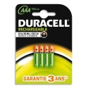 DURACELL Blister de 4 accus rechargeables 1,2V AAA HR3 750mAh