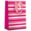 DRAEGER Sac cadeau papier grand format L26XH33cm Rayures Roses. Finition or à chaud. Poignées en ruban
