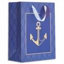 DRAEGER Sac cadeau papier grand format L26XH33cm Bleu Marine Ancre. Finition or à chaud.Poignées ruban