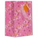 DRAEGER Sac cadeau papier petit format (16xH23cm Rose Fleurs. Finition or à chaud. Poignées en ruban
