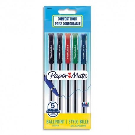 PAPERMATE Sachet de 5 stylos bille Brite à capuchon pointe moyenne 0.7 mm. Assortis standard