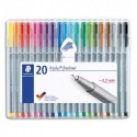 STAEDTLER Etui de 20 fineliners triplus 334 pointe fine 0.3 mm. Coloris assortis