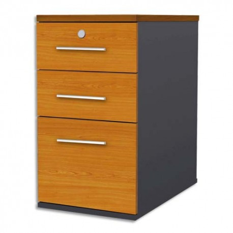 MT INTERNATIONAL Caisson 3 tiroirs hauteur bureau MT1 Confort merisier - Dimensions : L42 x H75 x P67 cm