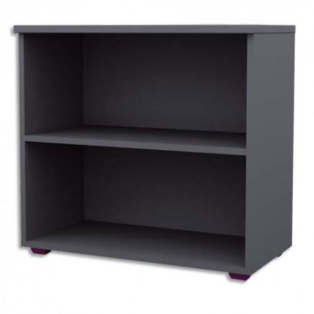 MT INTERNATIONAL Bibliothèque basse Confort anthracite - Dimensions : L80 x H75 x P43cm