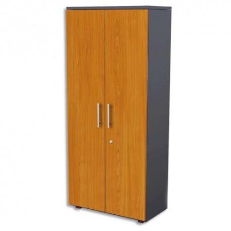 MT INTERNATIONAL Armoire haute portes pleines MT1 Confort merisier - Dimensions : L80 x H182 x P43 cm