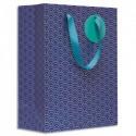 DRAEGER Sac cadeau papier grand format L26XH33cm Nuages Bleus. Finition or à chaud. Poignées en ruban