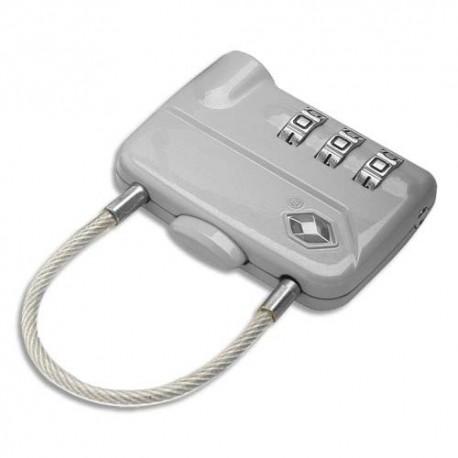 PAVO Cadenas à combinaison TSA 3 chiffres avec câble en métal - Dim : L5 x H3,5 x P1 cm coloris argenté